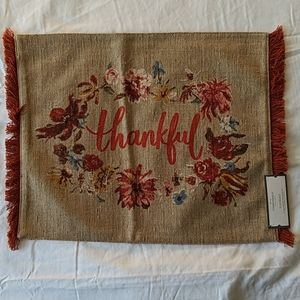 "19""x14"" Thankful Placemat Opal Beige"